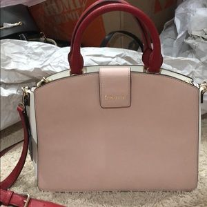 Brand new pink/white/red DKNY satchel/crossbdy bag